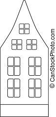 colorido, architecture., holandés, lindo, book., ático, viejo, windows, vector, clásico, coloring., -, casa de ventana, ilustración, sótano, outline., lineal, europeo