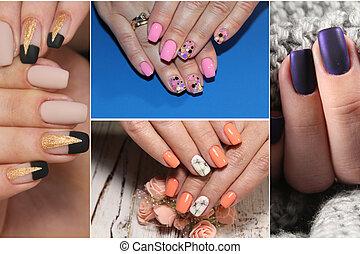 colorido, arco irirs, colección, de, clavo, diseños, para, verano, y, winte