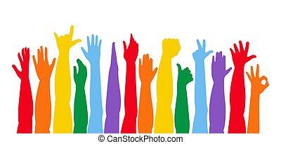 colorido, arriba, manos