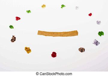 colorido, arrugado, papeles, forma, un, redondo, forma