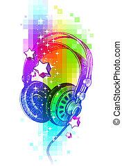 colorido, auriculares, mano, vector, diseño, dibujado