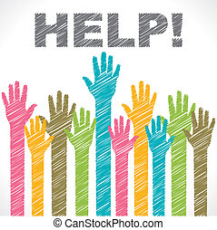 colorido, ayuda, necesidad, mano