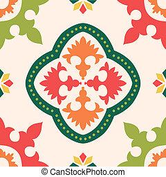 colorido, azulejos, ornamento, seamless
