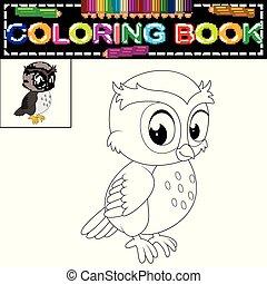 colorido, búho, libro