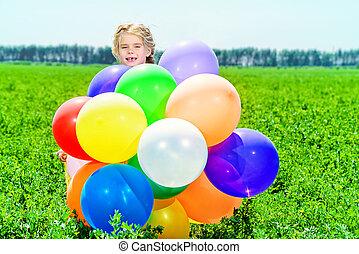 colorido, balões