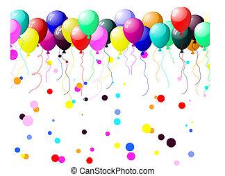 colorido, balões, com, resplendor