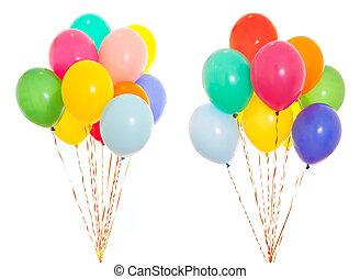 colorido, balões, grupo, enchido, com, hélio, isolado, branco