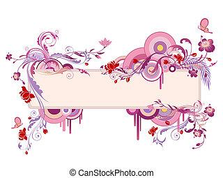 colorido, bandeira, com, floral, ornamento, e, borboleta