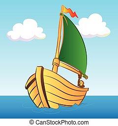 colorido, barco, ilustración, -, vector, ilustración