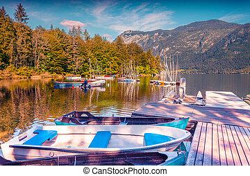 colorido, barcos, lago, verano, mañana, bohinj