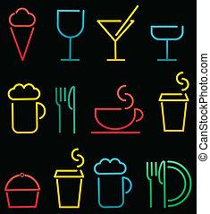 colorido, bebida, y, alimento, conjunto