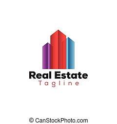 colorido, bienes raíces, edificio, logotipo, plantilla
