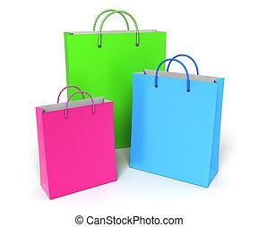 colorido, bolsas, compras