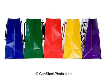 colorido, bolsas de compras