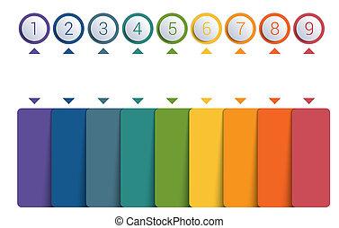colorido, botones, numerado, para, 9, posiciones