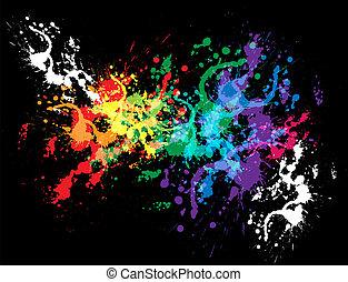 colorido, brillante, diseño, splat, tinta
