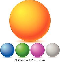 colorido, brillante, esferas