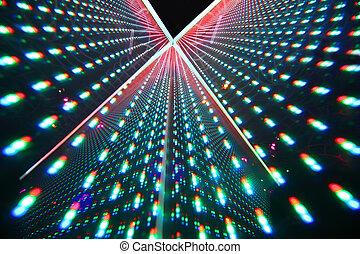colorido, brillante, iluminación, en, club nocturno, filas,...