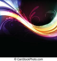 colorido, brillante, y, vívido, resumen, vector, plano de fondo