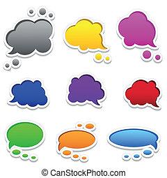 colorido, burbujas, discurso, marco