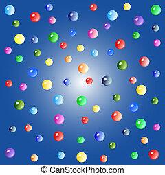 colorido, burbujas, en, fondo azul