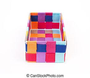 colorido, caja, blanco, plano de fondo