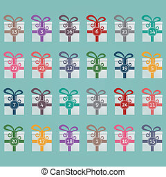 colorido, cajas del regalo, calendario de advenimiento