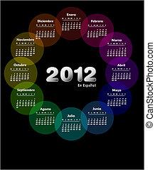 colorido, calendario, 2012, en, spanish., semana, comienzos, en, sunday.