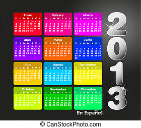 colorido, calendario, 2013, en, español