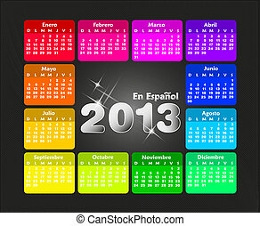 colorido, calendario, 2013, en, spanish.