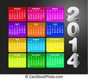 colorido, calendario, para, 2014.