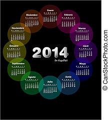 colorido, calendario, para, 2014, en, spanish., semana, comienzos, en, domingo