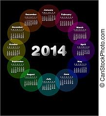 colorido, calendario, para, 2014., semana, comienzos, en, domingo, -, también, disponible, en, español, .