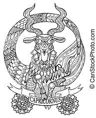 colorido, capricornio, señal, vector, zodíaco, libro