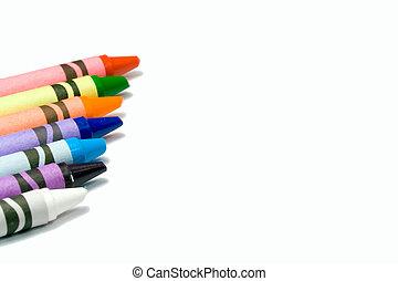 colorido, carboncillos, en, un, fondo blanco, con, texto,...