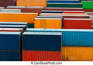 colorido, carga, contenedores