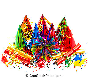 colorido, carnaval, decoración, cumpleaños, partido año ...