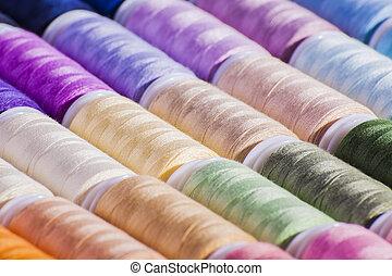 colorido, carretéis, algodão