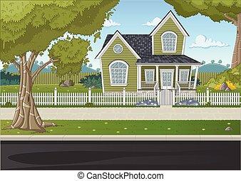 colorido, casa, en, suburbio, neighborhood.