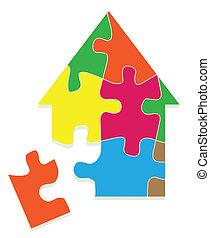 colorido, casa, rompecabezas, rompecabezas, vector, plano de...