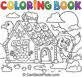 colorido, casa, tema, 2, pan de jengibre, libro