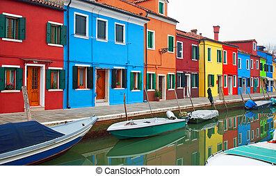 colorido, casas, burano, italia