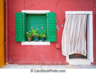 colorido, casas, de, burano, venecia, italia