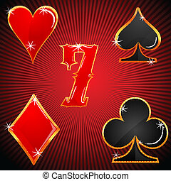 colorido, casino, símbolos