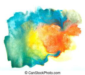 colorido, cepillo acuarela, golpes