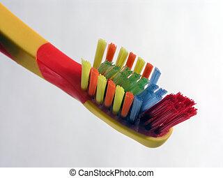 colorido, cepillo de dientes, cicatrizarse