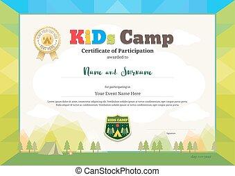 colorido, certificado, de, partipation, para, niños, actividades, o, niños, campo, con, campamento, plano de fondo