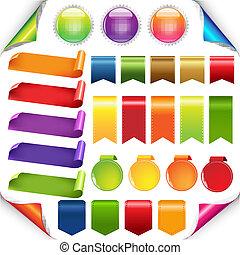 colorido, cintas, y, etiqueta, conjunto