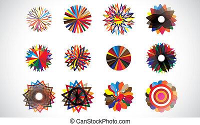 colorido, circular, concéntrico, formas geométricas