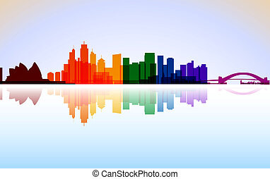 colorido, ciudad, sydney, panorama, vector